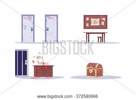 Escape Room Attributes Semi Flat Rgb Color Vector Illustrations Set. Doors, Clue Board, Key Challeng