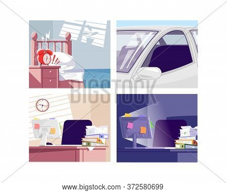 Everyday Stress Factors Semi Flat Vector Illustrations Set. Stressful Situation At Home, In Traffic