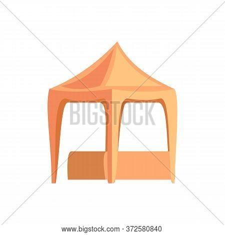 Empty Funfair Tent Flat Rgb Color Vector Illustration. Street Fair Stall, Kiosk Isolated Cartoon Obj