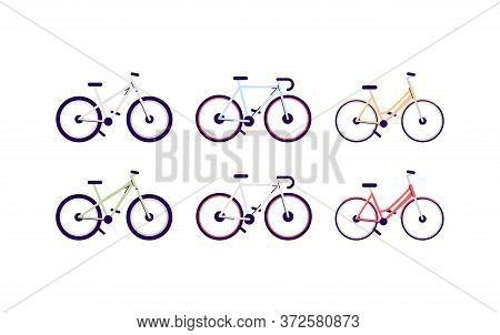 Bicycles Semi Flat Rgb Color Vector Illustrations Set. Different Bikes Isolated Cartoon Objects On W