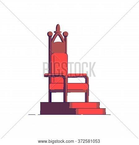 Medieval Throneroom Semi Flat Rgb Color Vector Illustration. Elegant Seat For Fantasy Nobility. Luxu