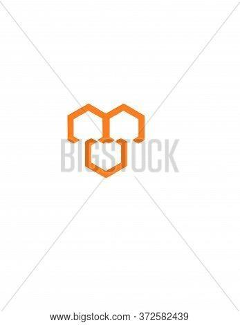 Mv, Mu, Vm, Um Initials Geometric Orange Hive Bee Shape Logo And Vector Icon