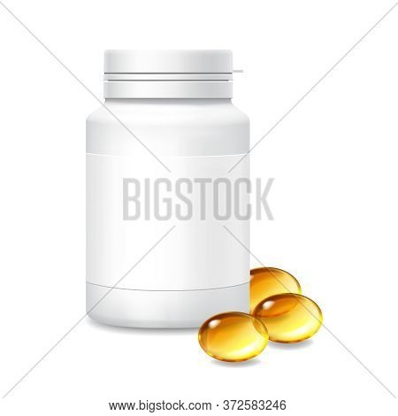 Medicine White Bottle And Capsules Of Omega 3 Fish Oil Supplement