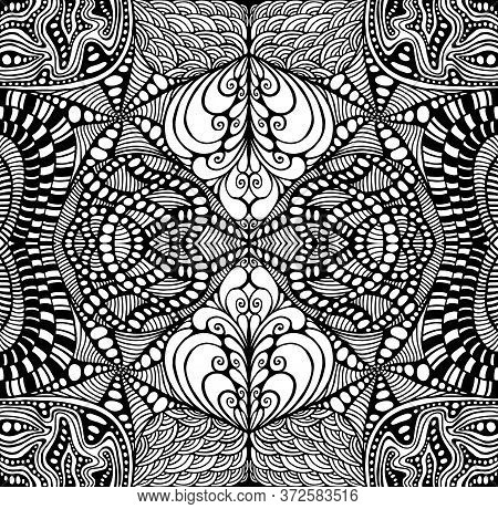 Black And White Psychedelic Ornament Coloring Page. Surreal Stylish Card