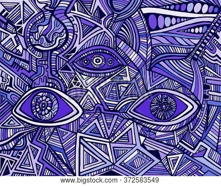 Fantastic Bizarre Shamanic Eyes Of Crazy Patterns. Surreal Doodle Stylish Card