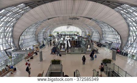 Bangkok - July 8: Airport Terminal  At Suvarnabhumi Airport On 08.07.2017 Bangkok, Thailand.suvarnab