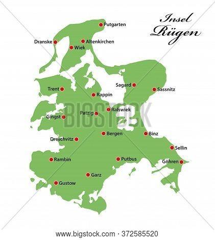 Vector Map Of The Baltic Sea Island Of Ruegen, Germany