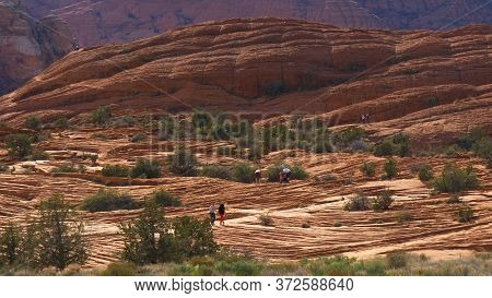 Scenic Route Through Snow Canyon In Utah- Utah, United States - March 20, 2019