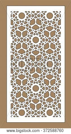 Laser Cutting. Arabesque Vector Panel. Template For Interior Partition In Arabic Style. Ratio 1:2