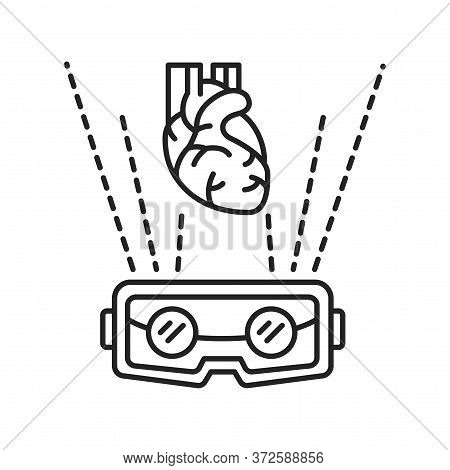 Vr Cardiac Surgery Black Line Icon. Virtual Reality In Medicine. Pictogram For Web Page, Mobile App,