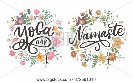 Hand Drawn Namaste Card. Hello In Hindi. Ink Illustration. Hand Drawn Lettering Background. Isolated