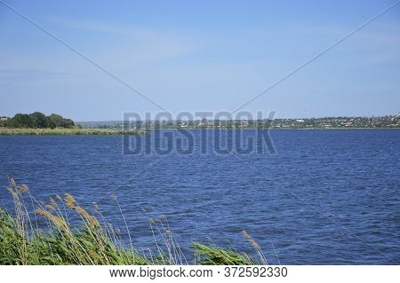View Of The Water Surface Of The Lake. Blue Water, Blue Sky And Green Bulrush. On The Other Side The