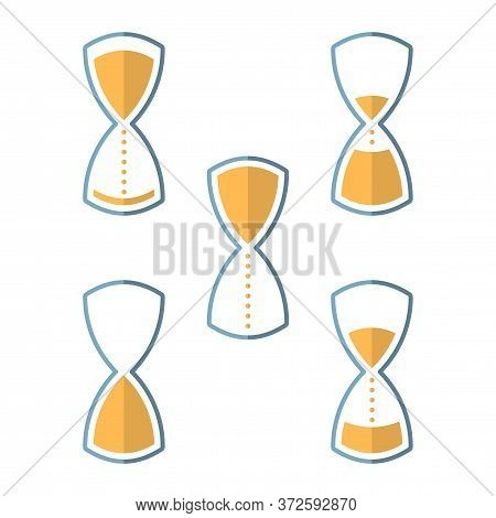 Stylish Hourglass Icon. Several Options For The Level Of Sand Inside The Watch, Which Show Different