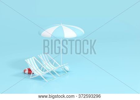 Sunshade, Beach Chair With Blue Background, 3D Rendering.