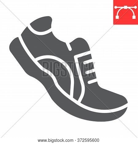 Running Shoes Glyph Icon, Fitness And Run, Sport Shoe Sign Vector Graphics, Editable Stroke Solid Ic