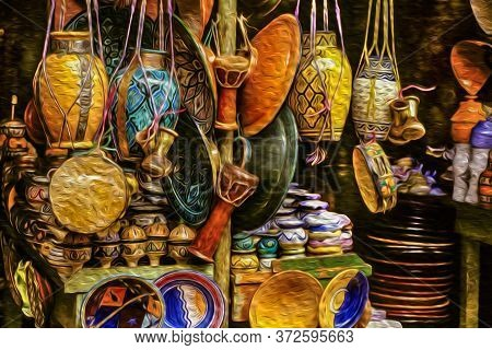 Colorful Handmade Porcelain Pots And Dishes Typical Of The Region, In A Gift Shop At The Marrakesh M