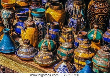 Colorful Handmade Ceramic Pots And Pans Typical Of The Moorish Culture In The Medina Of Marrakesh. T