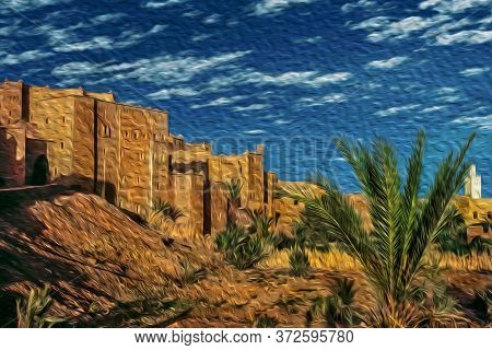 Backside Of Kasbah Taourirt, Former Fortress Palace Mud-built In The Village Of Ouarzazate. Mainly I
