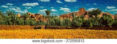 Mud-built Village With Old Kasbah In Ruins And Palm Trees In A Hilly Landscape Near Ouarzazate. Main