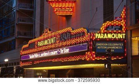 Famous Paramount Theater In Boston - Boston. Usa - April 5, 2017
