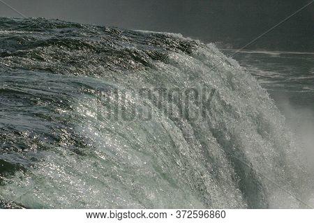 Niagara Area Powerful Edge Of Waterfall On A Summer Day.