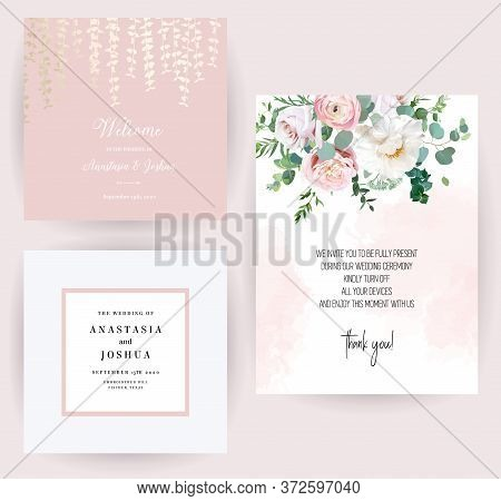 Elegant Wedding Cards With Pink Watercolor Texture And Spring Flowers. White Peony, Pink Ranunculus,