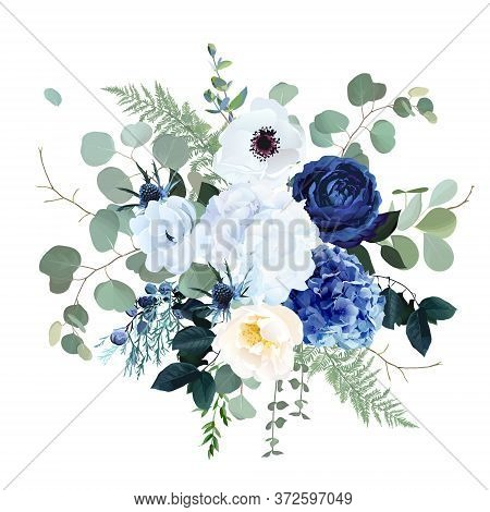 Classic Blue Rose, White Hydrangea, Ranunculus, Anemone, Thistle Flowers, Emerald Greenery And Eucal