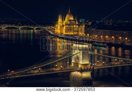 Budapest Night Cityscape View From The Buda Fortress. Amazing Lights Of Parliament Building And The