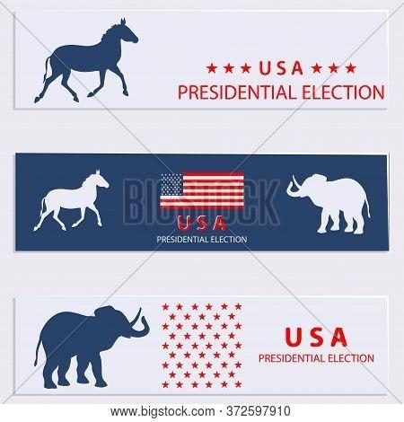 United States Presidential Election. Elephant, Donkey, American Flag. Set Of Election Headline With