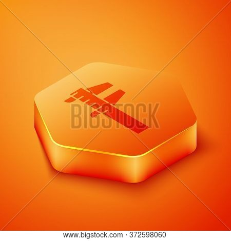 Isometric Calliper Or Caliper And Scale Icon Isolated On Orange Background. Precision Measuring Tool