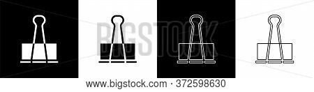 Set Binder Clip Icon Isolated On Black And White Background. Paper Clip. Vector Illustration
