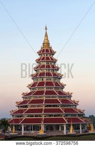 Exterior Of Buddhist Pagoda In Chinese Style At Wat Huay Pla Kang At Sunset In Chiang Rai, Northern