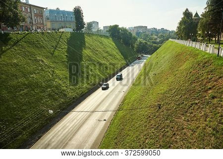 Motorway In A City. Going Cars On A Road.
