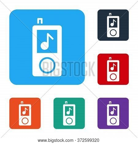White Music Player Icon Isolated On White Background. Portable Music Device. Set Icons In Color Squa