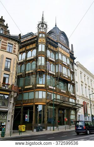 Brussels / Belgium - July 8, 2019: Musical Instruments Museum Facade In The Center Of Brussels.