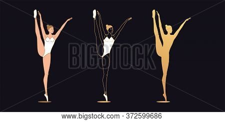 Golden Ballerina Woman In Outline Style. Set Of Silhouette, Ballet Dancer Stands On One Leg, Lifts U