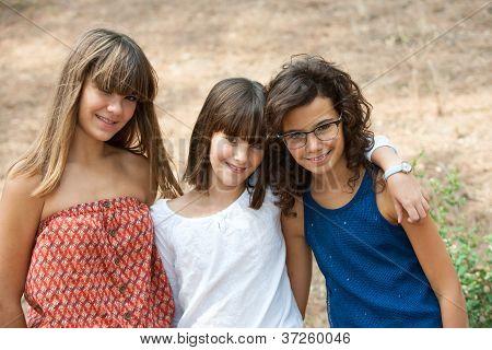 Portrait Of Three Cute Teenage Girls.