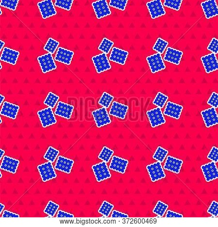 Blue Cracker Biscuit Icon Isolated Seamless Pattern On Red Background. Sweet Cookie. Vector Illustra