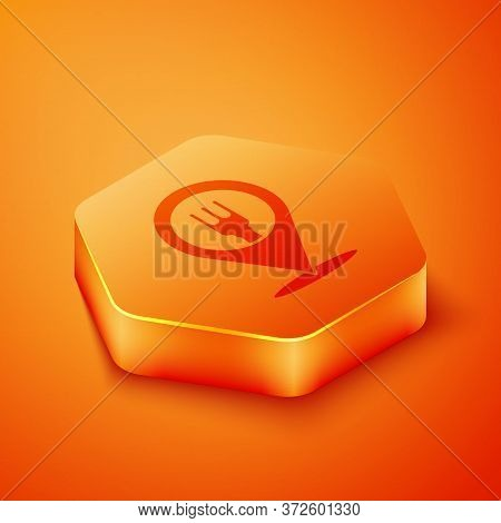 Isometric Cafe And Restaurant Location Icon Isolated On Orange Background. Fork And Spoon Eatery Sig
