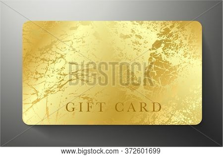Gift Card With Gold Royal Texture Isolated On Black Luxe Background. Golden Premium Template Useful