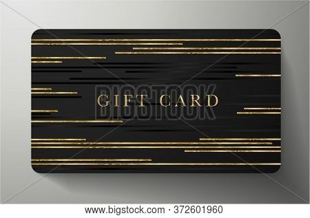Gift Card With Gold Horizontal Glitch Lines On Black Background. Dark Template Useful For Any Invita