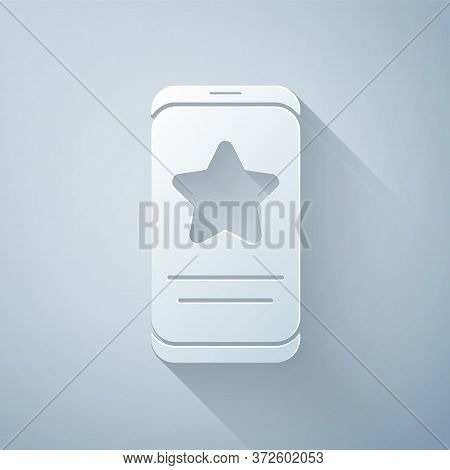 Paper Cut Mobile Phone With Review Rating Icon Isolated On Grey Background. Concept Of Testimonials