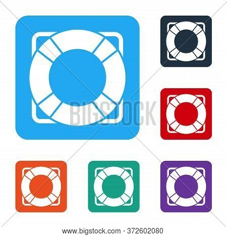 White Lifebuoy Icon Isolated On White Background. Lifebelt Symbol. Set Icons In Color Square Buttons