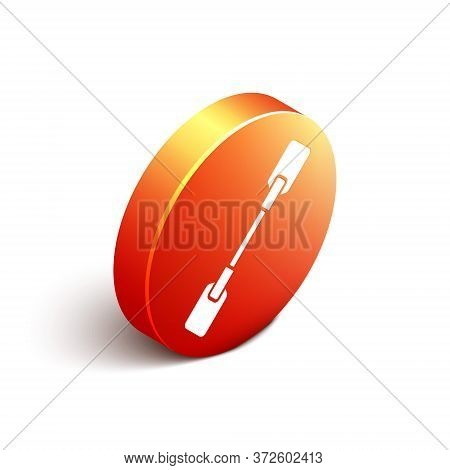 Isometric Paddle Icon Isolated On White Background. Paddle Boat Oars. Orange Circle Button. Vector I