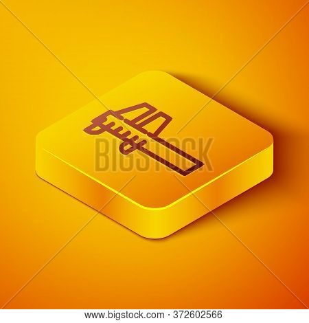 Isometric Line Calliper Or Caliper And Scale Icon Isolated On Orange Background. Precision Measuring