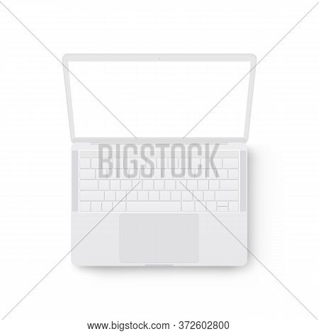 Clay Laptop Computer Mockup, View From Above. Vector Illustration