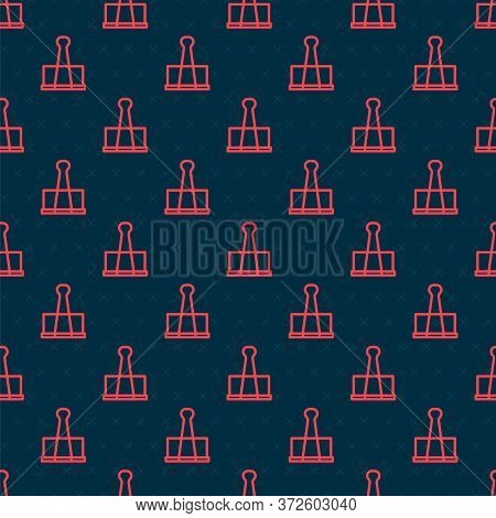 Red Line Binder Clip Icon Isolated Seamless Pattern On Black Background. Paper Clip. Vector Illustra