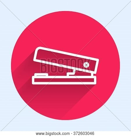 White Line Office Stapler Icon Isolated With Long Shadow. Stapler, Staple, Paper, Cardboard, Office