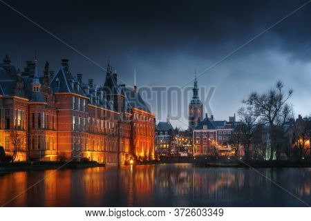 The Hague (den Haag) City Old Town, Netherlands (holland) In The Evening