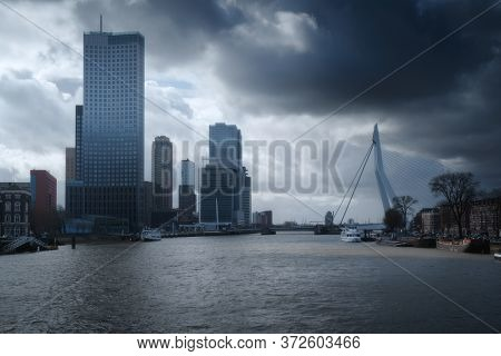 Rotterdam City Skyline Cityscape, Netherlands (holland). View Of Downtown And Erasmus Bridge